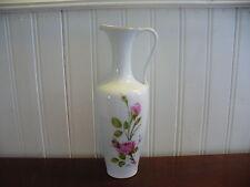 Vintage KPM Royal Porzellan Porcelain Pink Rose Motif Pitcher Vase West Germany