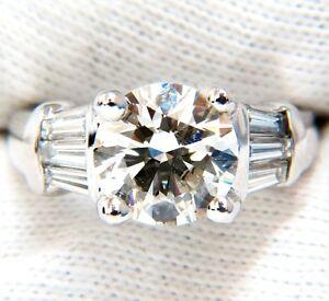 GIA 3.77CT TRADITIONAL ROUND BAGUETTES DIAMOND RING PLATINUM+