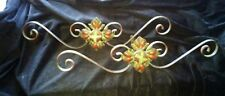 PaiR ant vic Floral Curly Fillgree Cast Metal Paint Patina Curtain Rod Holder