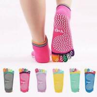 Womens Lady 5-Toe Colorful Cotton Yoga Gym Non Slip Massage Toe Socks Full Grip