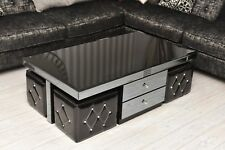MODERN BLACK Coffee Table | GLASS DRAWERS HIGH GLOSS STORAGE STOOL Living Room