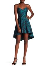Ali & Jay High Low Floral Jacquard Blue Green Black Dress Large Fit and Flare