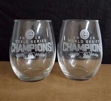 WORLD SERIES CHAMPIONS 2 ETCHED NICE LARGE STEMLESS  WINE GLASSES,CHICAGO CUBS