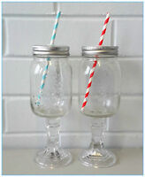 2 x Mason Jars Clear Glass Metal Lid with Hole & Colour Straw, Vintage Etching