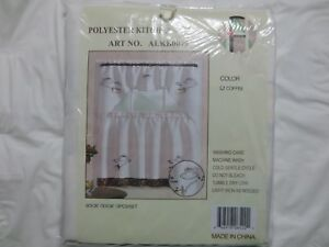 Polyester Kitchen Curtain, ART No. ALKB0075 Coffee Time embroidered, 3pc, NWT