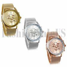 Men's Gold Silver Black Tone Date Waterproof Luxury Stainless Steel Wrist Watch