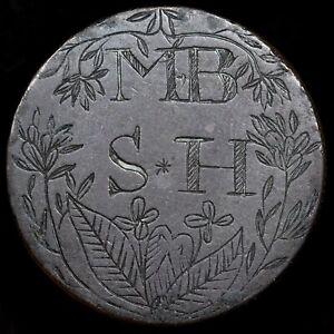 A Georgian Love Token, Engraved Halfpenny, MB & SH, 1806. Flower Border.