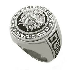 Iced Out Silver Medusa Head Versace Style Ring (size 12)
