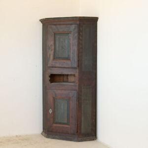 Antique Original Painted Corner Cabinet Cupboard, Sweden
