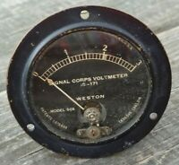 Vintage WESTON Model 506 SIGNAL CORPS VOLTMETER IS-171 Range=0-3 Panel GAUGE