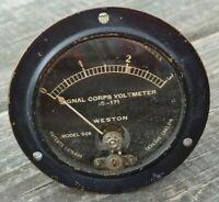 Vintage WESTON Model 506 SIGNAL CORPS VOLTMETER IS-171 Range=0-3 Panel GAUGE