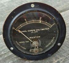 Vintage Weston Model 506 Signal Corps Voltmeter Is 171 Range0 3 Panel Gauge