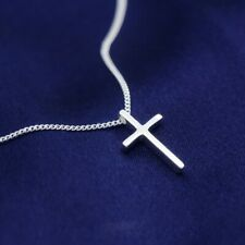 Sterling Silver 925 Small Plain Cross Child's Pendant Necklace