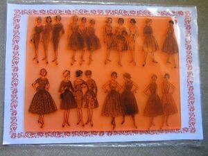 Flonz Craft Clear Stamps Sheet Vintage Ladies Women In Vintage Dresses
