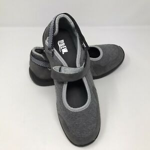 Drew Buttercup Grey Combo Leather Microtouch Flat Womens Size 7 Medium Mary Jane