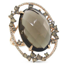 Smoky Topaz Champagne Diamond 14K Rose Gold Ring Oval Natural Cabochon Cocktail