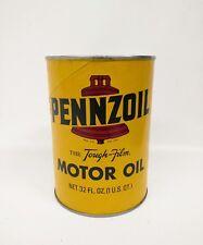 Vintage PENNZOIL Bell Motor Oil Z-7 Tough Film 1 US Quart Can Full New Sealed