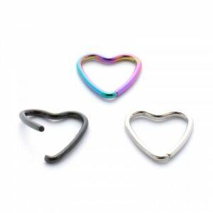 1mm Twist Open Anodised Steel Heart ~ Daith, Rook, Tragis, Helix Piercing