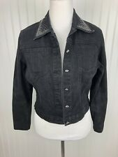Christine Alexander Jeweled Jean Jacket Coat Womens Sm Black Rhinestone Bling