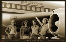 Led Zepplin Vintage Airplane Group Photo 24x36 Poster- Hard Rock Sepia Wall Art