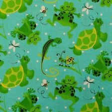 BY THE YARD Turtles Frogs Grasshoppers Geckos Bees 100% Cotton Quilting Fabric