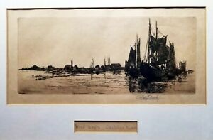 Stephen Parrish: Wood-Boats St.John River 1882 Etching Signed & Titled in Pencil