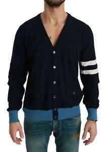 DOLCE & GABBANA Sweater Blue Striped Cashmere Cardigan IT48/ US38 / M