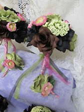 USA 2 pc Pink Black Brown Realtree Camo silk flower Bridal Bouquet Boutonniere