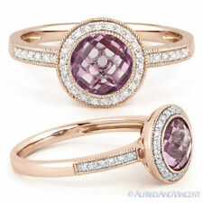 1.45ct Pink Amethyst Round Diamond Halo Engagement Ring 14k Rose Gold Setting