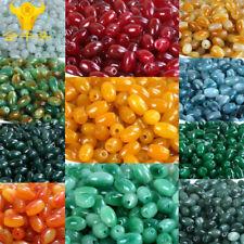 10pcs Natural Jade Stone Gemstone Rice Spacer Loose Beads DIY 6x9mm