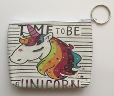 Time to be a Unicorn, Rainbow Unicorn Zip Purse, Coin Purse Childrens, Ladies