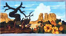 Vintage Wool Folk Art Hand Hooked Rug Desert Mountains 1960s Boho Tapestry
