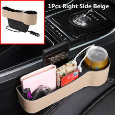Beige Dual USB Car Seat Gap Slit Pocket Cup Holder Right Side Storage Organizer