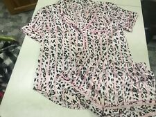 NWT VICTORIAS SECRET SATIN LEOPARD PRINT  PJ PAJAMAS SHORTS SET  SZ   SMALL  $68