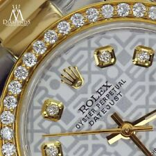 Ladies 26mm Rolex Oyster Perpetual Datejust Custom White Jubilee Diamonds Dial