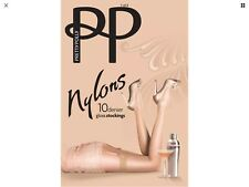 👠SM Pretty Polly Nylons 10 Denier Gloss Stockings Barely Black BNIP