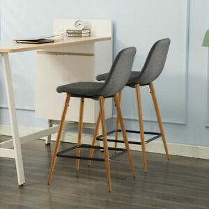 New Set of 2 Modern Fabric Grey Bar Stool Black Wooden Leg Chairs Kitchen Pub
