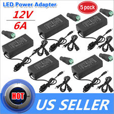 5x UL Listed AC to DC 12V 6A 72w LED LIGHT POWER SUPPLY with DC adapter U.S.A BP