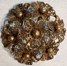 Vintage Czech Brass Floral Cannetille Filigree Domed Pendant Brooch Pin--Estate
