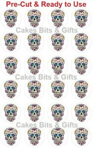 24 x SUGAR SKULL Edible Wafer Cupcake Toppers PRE-CUT Ready to Use SKULLS