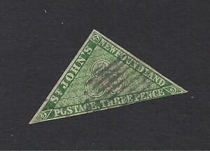 1860/63 NEWFOUNDLAND IMPERF  TRIANGLE 3 PENCE  USED/HINGED THIN MARGINS