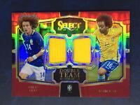 2017 Panini Select Double Team Memorabilia Maroon /199 David Luiz Marcelo Brazil