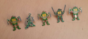 5x Teenage Mutant Ninja Hero Turtles pins 1980s 1990s vintage