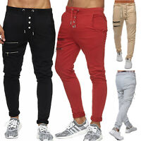 Mens Slim Fit Trousers Tracksuit Bottoms Skinny Sports Casual Zip Sweat Pants