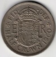 1960 GREAT BRITAIN 1/2 HALF CROWN ELIZABETH II  NICE WORLD COIN