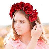 Hairband Crown Floral Rose Flower Headband  Wedding Hair Garland Headpiece HQ