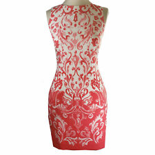Ralph Lauren coral pattern fitted white sheath dress, 14