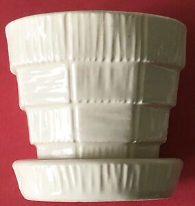 McCoy Art Pottery BASKETWEAVE WHITE SMALL Planter Flower Pot W/Attached Saucer