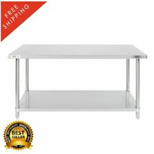 """30"""" x 60"""" 16 Gauge 304 Stainless Steel Commercial Work Table with Undershelf"""
