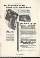 1932 SIMPLEX POCKETTE movie camera advertisement, model C movie camera